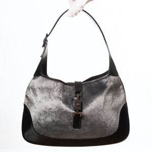 GUCCI JACKIE GREY VELVET HOBO BAG